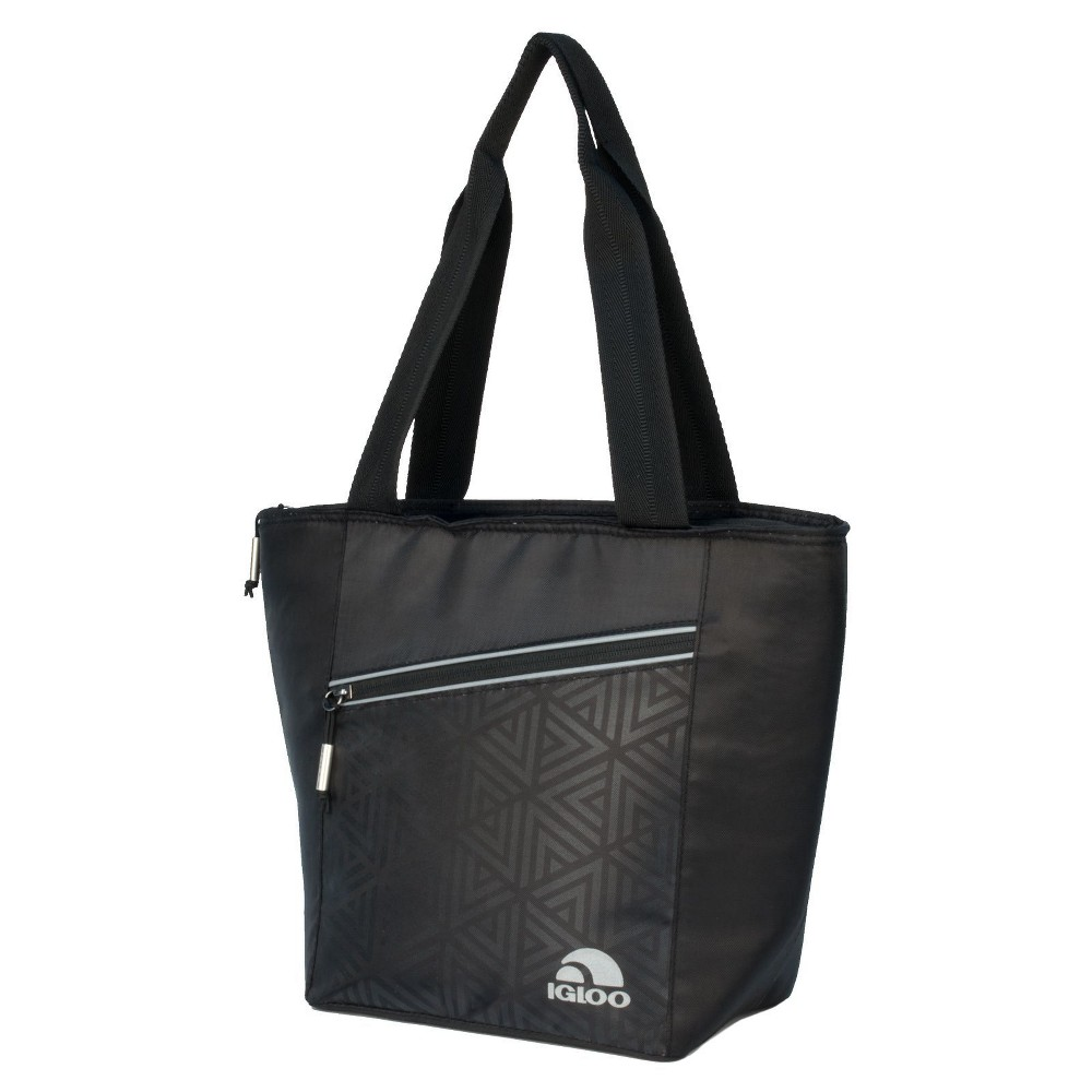Image of Igloo Balance Cooler Lunch Tote Cooler Bag 12 Can - Faux Leather Print, Black