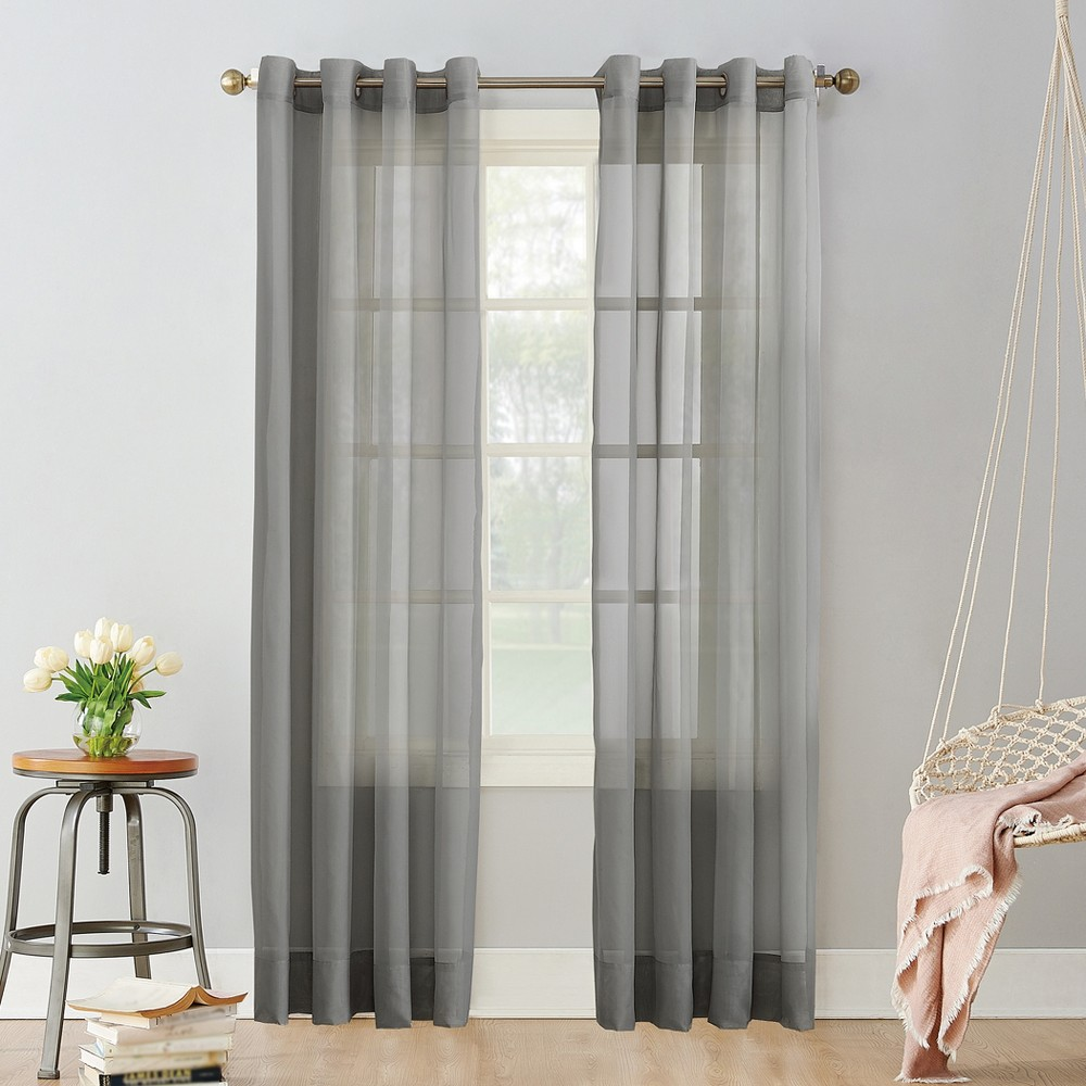 Emily Sheer Voile Grommet Curtain Panel Charcoal (Grey) 59