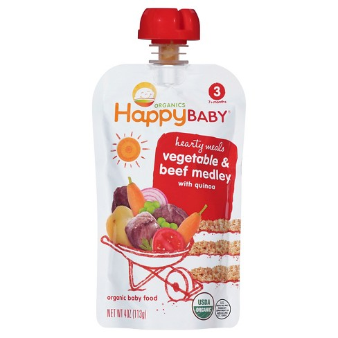 Happy Baby Stage 3 Hearty Meals Vegetable & Beef Medley Organic Baby Food - 4oz - image 1 of 4