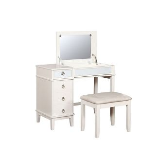 Remarkable Poundex Bobkona Edna Vanity Set With Stool White Brickseek Pabps2019 Chair Design Images Pabps2019Com