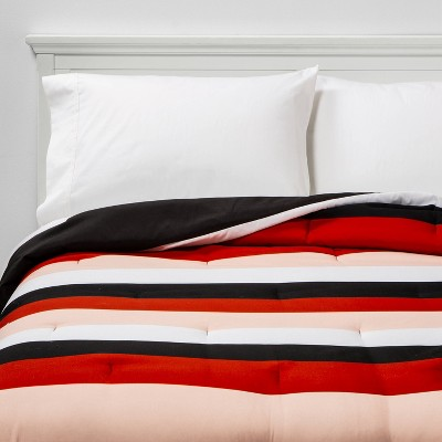 Rugby Stripe to Black Reversible Geo Dot Microfiber Comforter - Room Essentials™