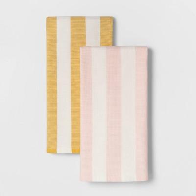 2pc Yarn Dye Dual Sided Terry Towel Set Yellow/Pink - Threshold™