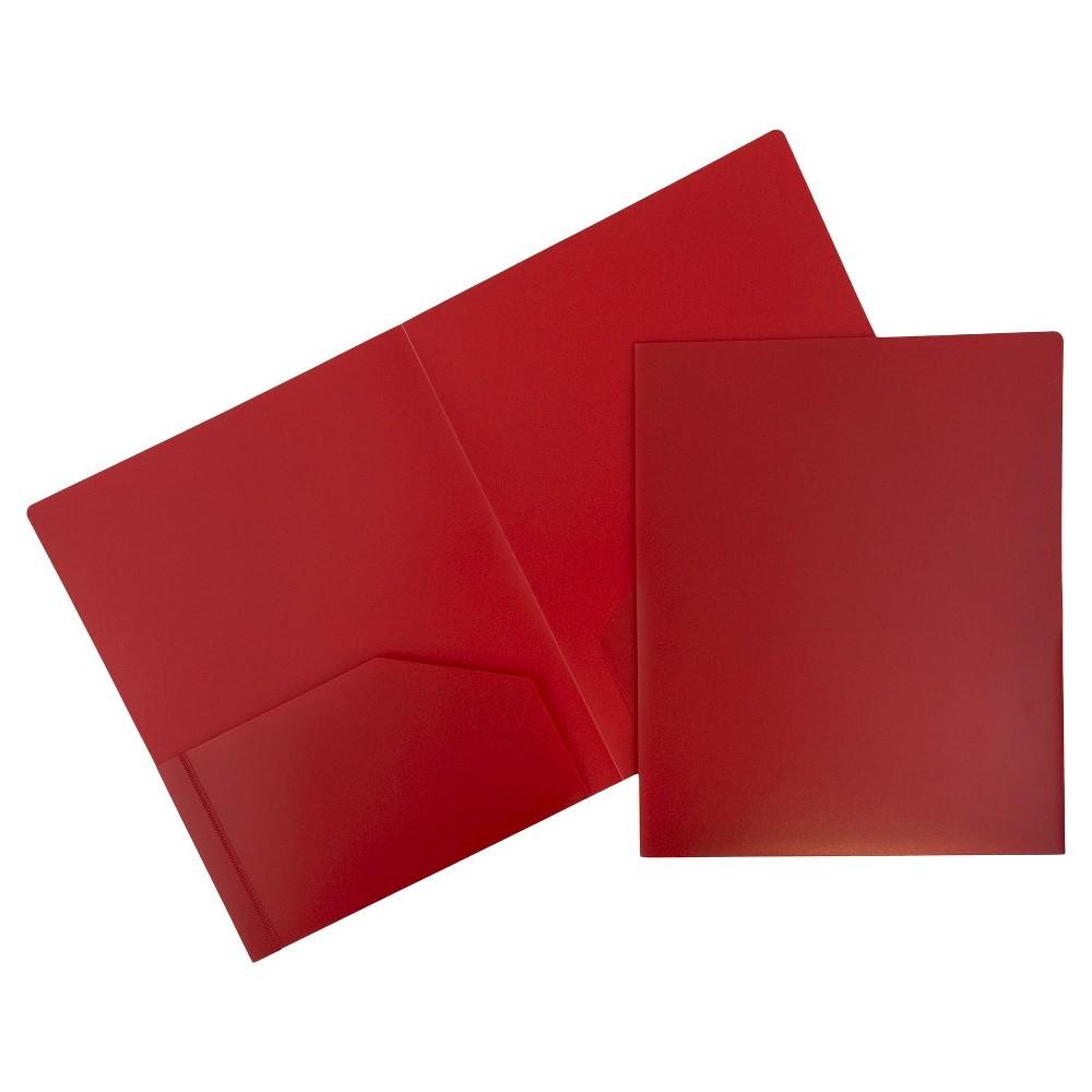 Image of 6pk 2 Pocket Heavy Duty Plastic Folder Red - JAM Paper