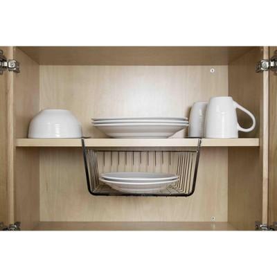 Home Basics Small Under the Shelf Basket, Black Onyx