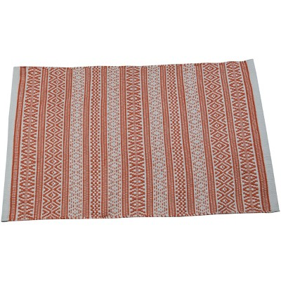 2'x3' Rectangle Hand Made Outdoor Woven Accent Rug Orange - Foreside Home & Garden