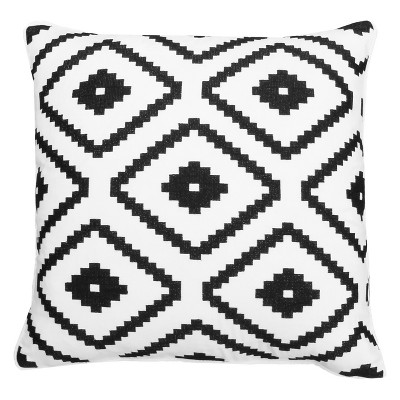 Décor Therapy 18 x18  Allister Aztec Embroidered Throw Pillow Black/White