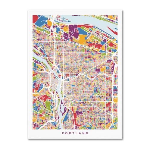 'Portland Oregon City Street Map' by Michael Tompsett Ready to Hang Canvas Wall Art - image 1 of 3