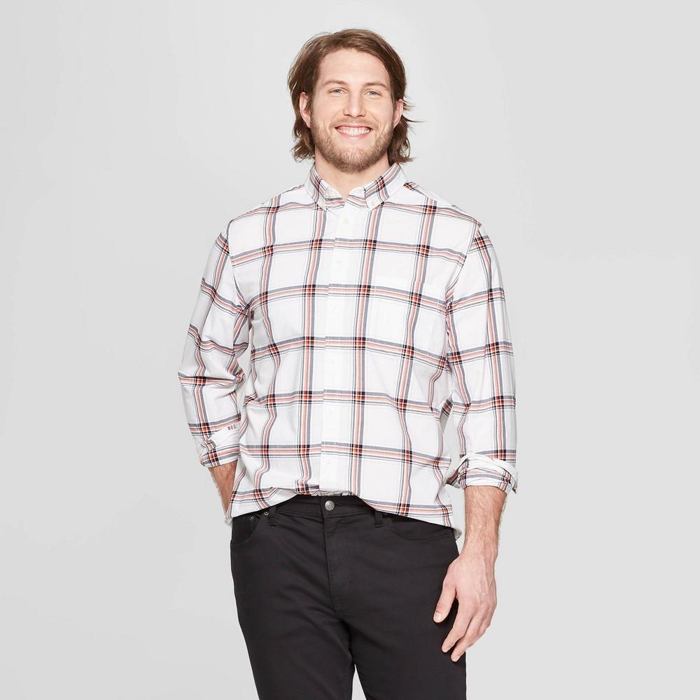Men's Big & Tall Plaid Standard Fit Long Sleeve Northrop Poplin Button-Down Shirt - Goodfellow & Co White 5XB
