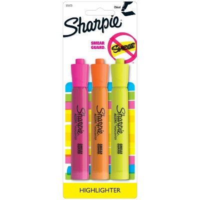 3pk Highlighters Tank Smear Guard Chisel Tip Multicolor - Sharpie