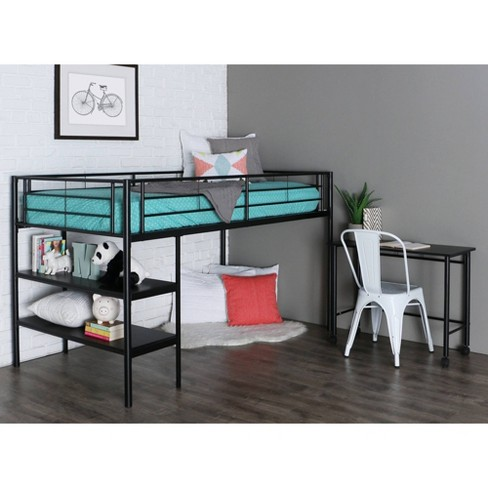 Kids Bed with Desk & Shelves Metal (Twin) - Saracina Home - image 1 of 4
