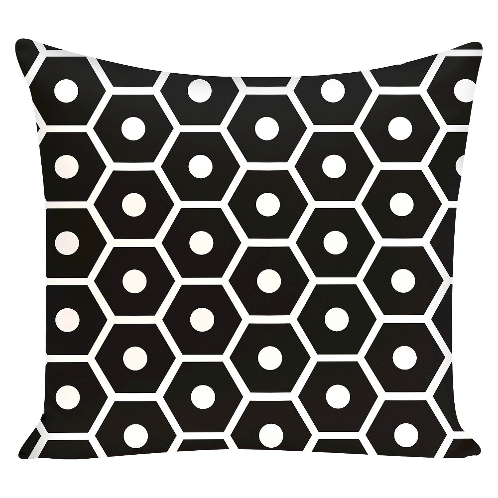"Image of ""Geometric Print Throw Pillow Black (16""""x16"""") - E By Design"""
