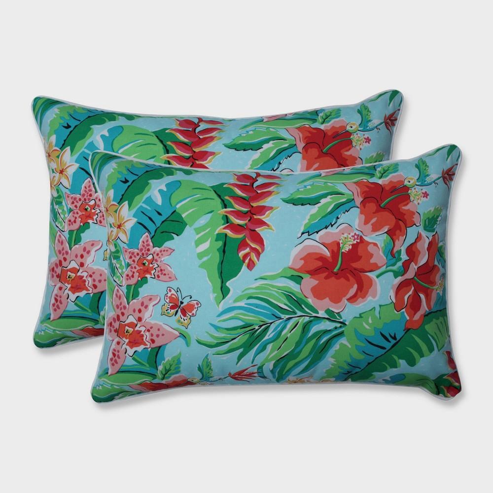 2pk Oversize Tropical Paradise Rectangular Throw Pillows Blue - Pillow Perfect
