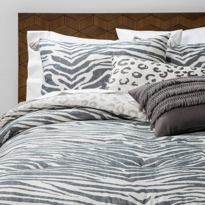 King 5pc Iris Zebra Comforter Set Charcoal - Opalhouse™