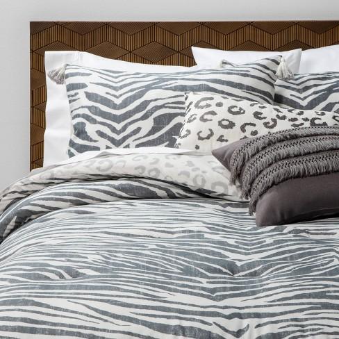 Twin Extra Long Twin 4pc Iris Zebra Bed Set Charcoal Opalhouse