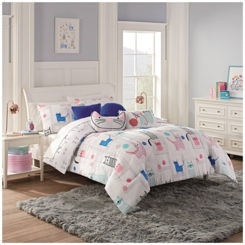 2pc Twin Kitty City Comforter Set Gray - Waverly Kids - image 1 of 3