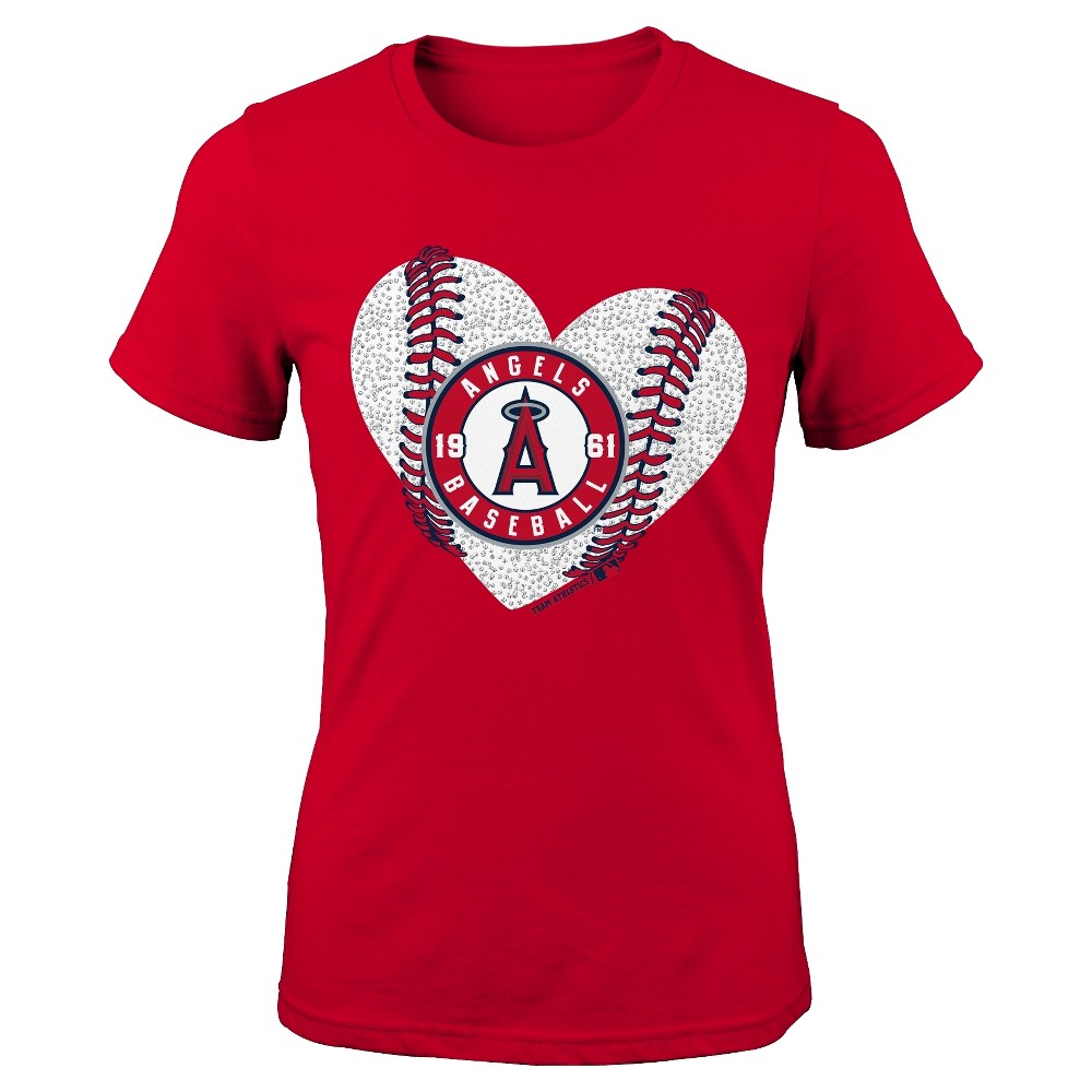 Los Angeles Angels Girls' Crew Neck T-Shirt - L, Blue