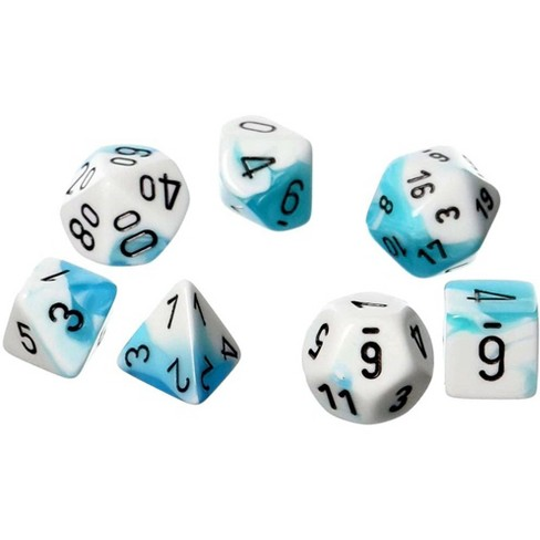 Chessex Gemini Teal and White Dice with Black Numbers Polyhedral 7-Die Dice Set - image 1 of 1