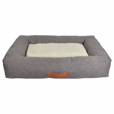 Rectangular Bolster Faux Linen Dog Bed - Boots & Barkley™