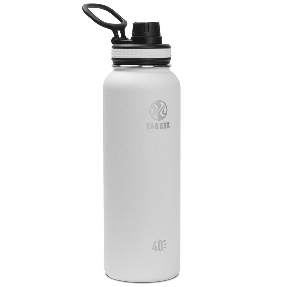 Takeya 40oz Originals Insulated Stainless Steel Water Bottle With Spout Lid White