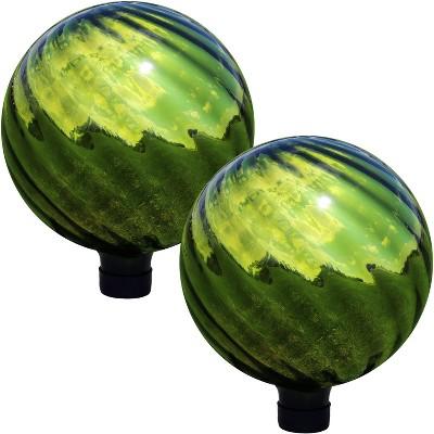 "Rippled Mirrored Surface 10"" Gazing Globe - Green - Set of 2 - Sunnydaze Decor"