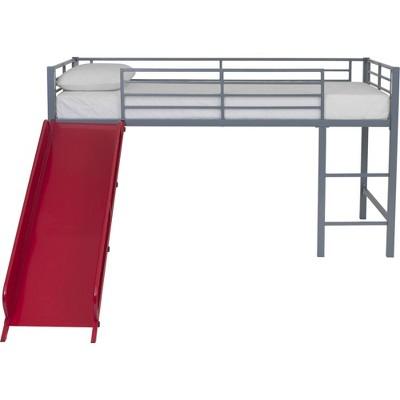Kids' Melia Junior Metal Loft Bed with Slide Silver/Red - Room & Joy