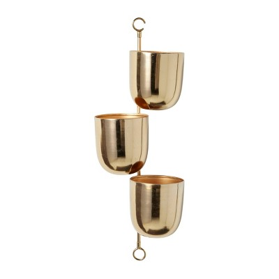 """Set of 3 12"""" Contemporary Indoor/Outdoor Metal Hanging Wall Planter Rack - Olivia & May"""