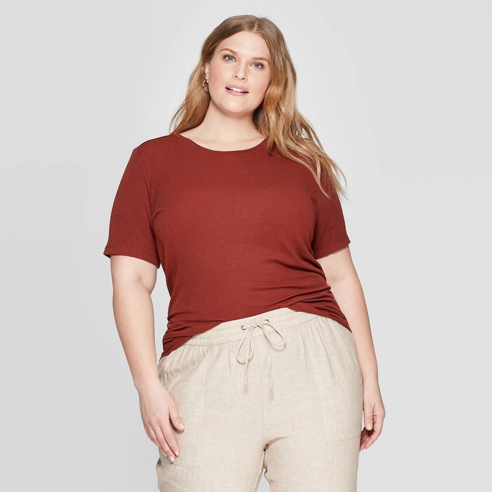 Women's Plus Size Short Sleeve Crewneck Rib T-Shirt - Ava & Viv Brown 1X