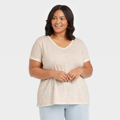 Women's Plus Size Short Sleeve V-Neck Essential T-Shirt - Ava & Viv™