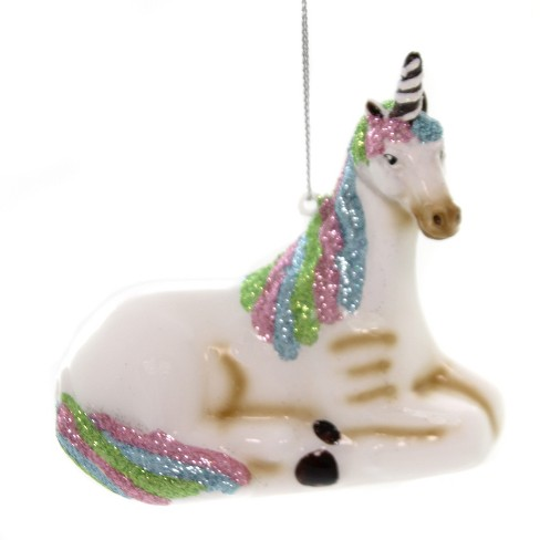 """Holiday Ornaments 3.75"""" Laying Unicorn Glitter Regal  -  Tree Ornaments - image 1 of 2"""