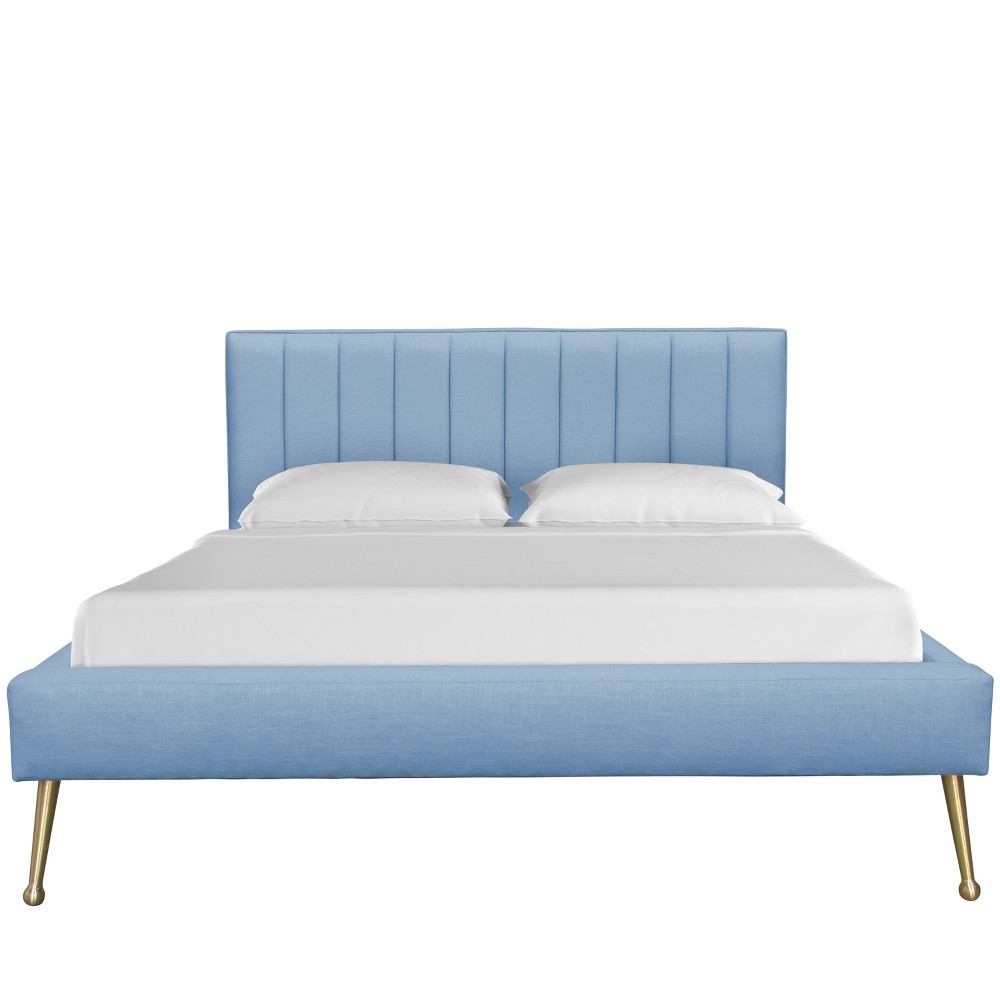 California King Camila Platform Modern Channel Seam Bed with Metal Legs Denim Linen - Cloth & Co.