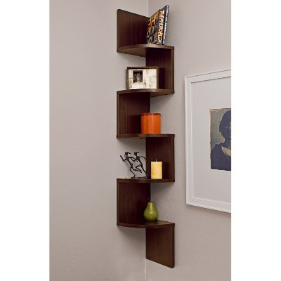 48.5  x 7.7  Zigzag Corner Shelf Walnut - Danya B.