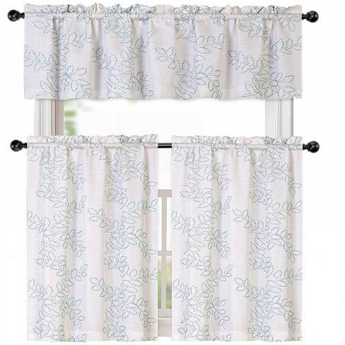Kate Aurora Brielle Embroidered Linen Kitchen Curtain Tier & Valance Set - image 1 of 1