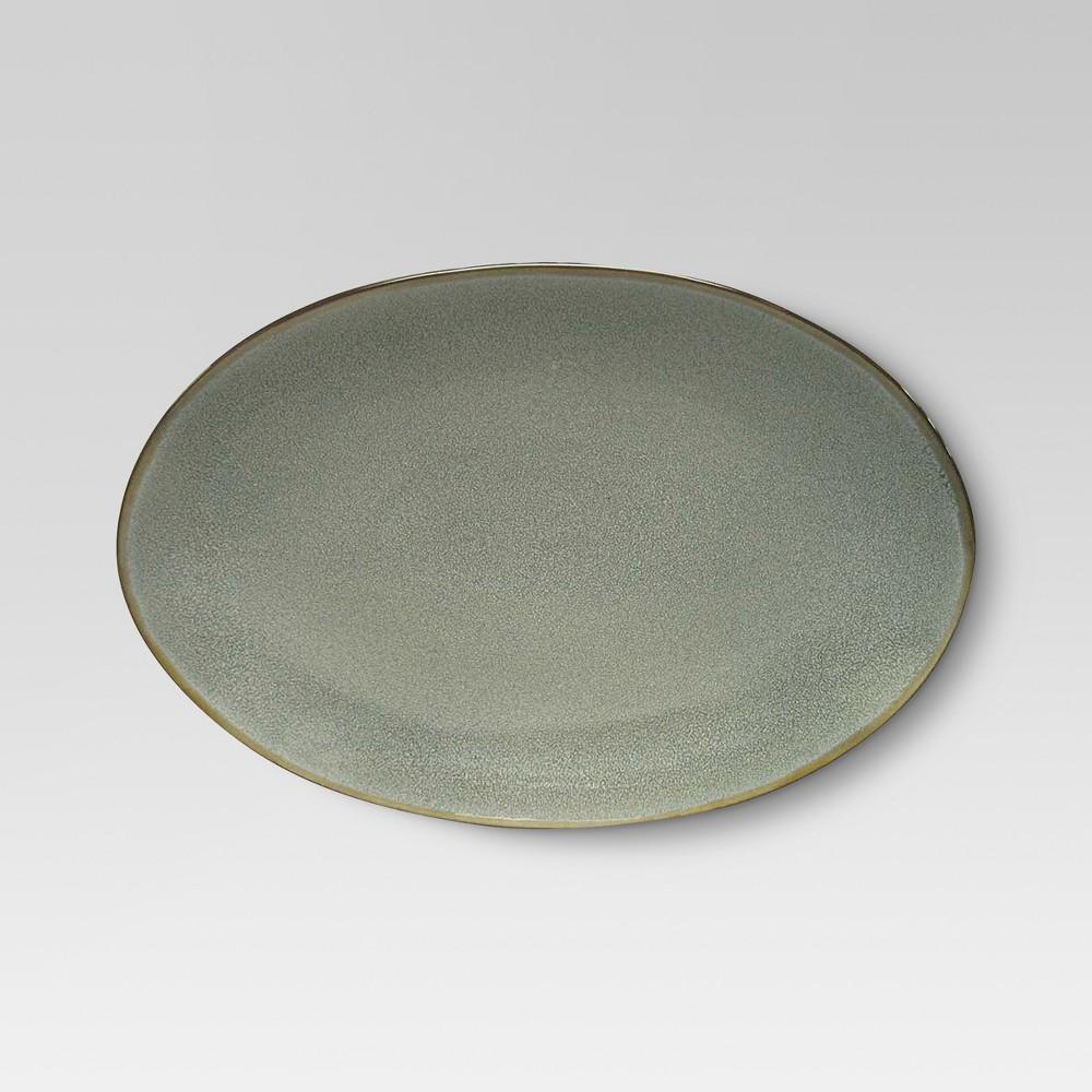 Belmont Round Serving Platter 12.5x9in Stoneware Gray - Threshold