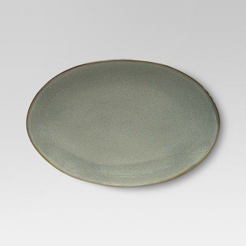 Belmont Round Serving Platter 12.5x9in Stoneware Gray - Threshold™ - image 1 of 1