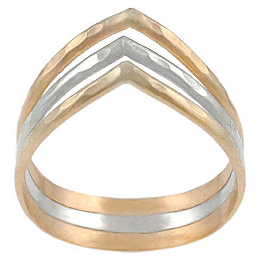 Women's Tressa Collection Sterling Silver and Goldfill Three Band 'v' Ring - Gold/Silver (8), Multicolored