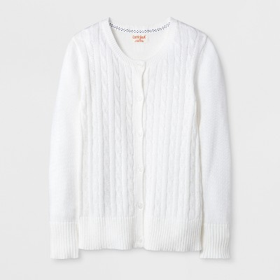 Girls' Crew Neck Cable Knit Uniform Cardigan - Cat & Jack™ White