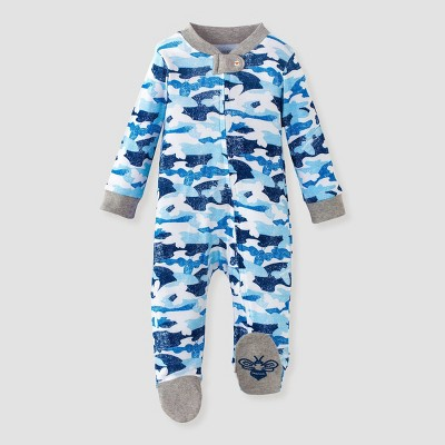 Burt's Bees Baby® Baby Boys' Organic Cotton Distressed Camo Sleep N' Play - Blue Newborn
