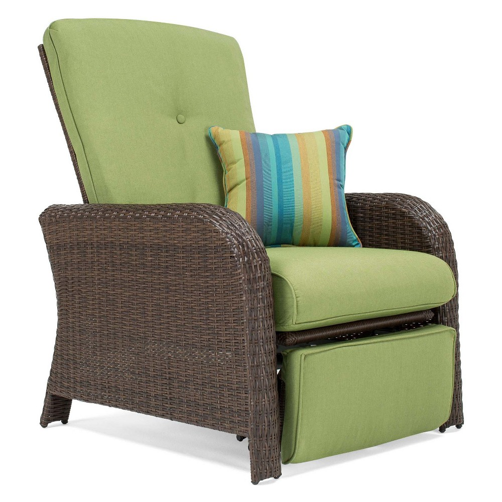 La-Z-Boy Outdoor Sawyer Wicker Outdoor Recliner with Sunbrella Spectrum Cilantro Cushion