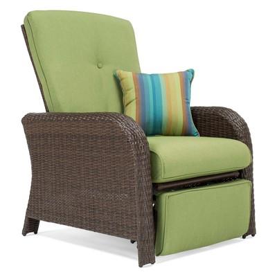 La Z Boy Outdoor Sawyer Wicker Outdoor Recliner With Sunbrella Spectrum  Cushion
