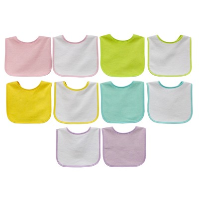 Neat Solutions 10pk Water Resistant Baby Bib Set - Assorted Pastel Pinks