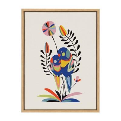 "18"" x 24"" Sylvie Rainbow Lorikeet Framed Canvas Wall Art by Rachel Lee Natural - Kate and Laurel"
