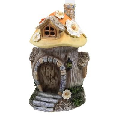 "Home & Garden 7.0"" Mushroom House Led Flowers Garden Roman, Inc  -  Outdoor Sculptures And Statues"
