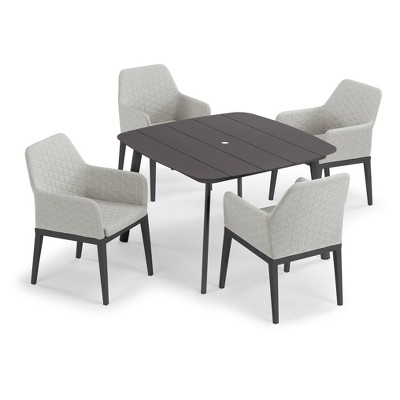 """Eiland 5pc Patio Set with 45"""" Square Dining Table & 4 Oland Arm Chairs - Oxford Garden"""