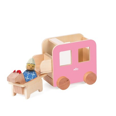 Manhattan Toy MiO Carriage + Horse + 1 Bean Bag Person Peg Doll Montessori Style STEM Learning Wooden Castle Playset Accessory
