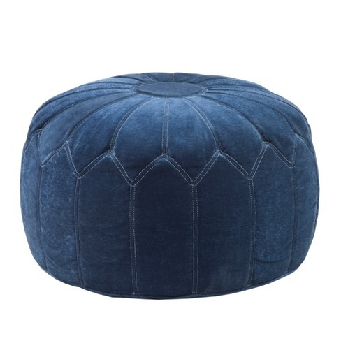 Remarkable Kelsey Round Pouf Storage Ottoman Blue Ncnpc Chair Design For Home Ncnpcorg