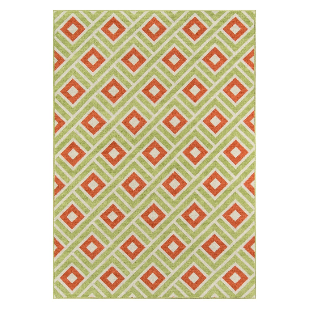 "Image of ""2'3""""X4'6"""" Geometric Loomed Accent Rug Green - Momeni"""