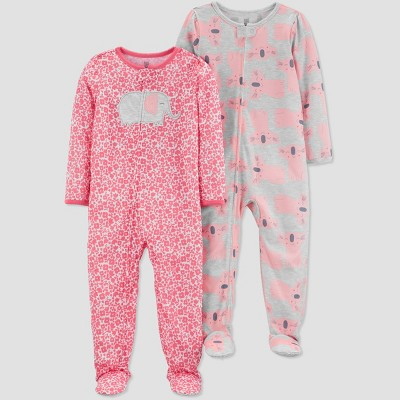 Baby Girls' 2pk Elephant Footed Pajama - Just One You® made by carter's Pink/Gray