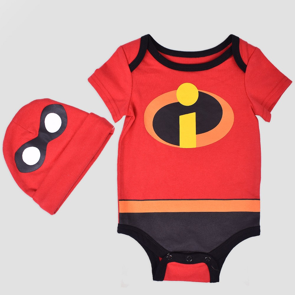 Baby Disney The Incredibles Bodysuit with Hat - Red 6-9M, Infant Unisex