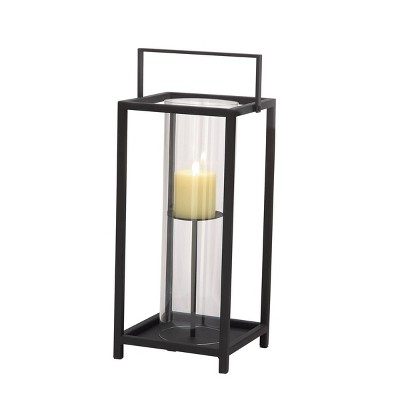 "20"" x 8"" Contemporary Iron/Glass Candle Holder with Metal Handle Black - Olivia & May"