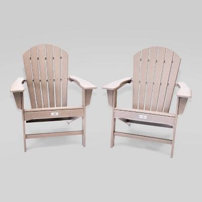 2pk Hampton Weather Wood Patio Adirondack Chair- LuXeo